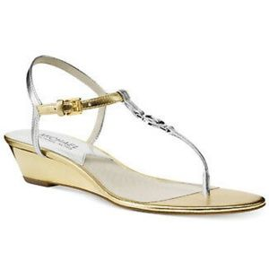 Michael Kors Nora Wedge Gold Silver Sandals NEW 9